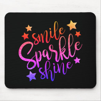 Smile Sparkle Shine Black Multi Coloured Mouse Pad