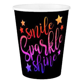 Smile Sparkle Shine Black Multi Coloured Paper Cup