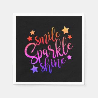 Smile Sparkle Shine Black Multi Coloured Paper Napkin