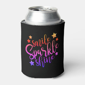 Smile Sparkle Shine Black Multi Coloured Quote Can Cooler