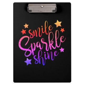 Smile Sparkle Shine Black Multi Coloured Quote Clipboard
