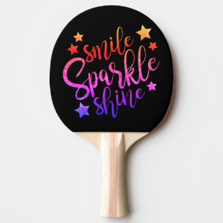 Smile Sparkle Shine Black Multi Coloured Quote Ping Pong Paddle