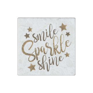 Smile, Sparkle, Shine faux gold magnet