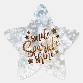 Smile, Sparkle Shine Glitter Star Sticker Sheet