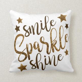 Smile Sparkle Shine - gold lettering - cushion
