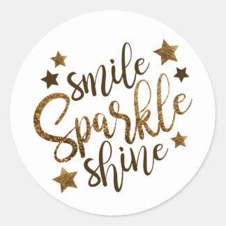 Smile Sparkle Shine Gold Stickers