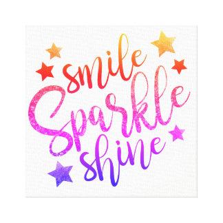 Smile Sparkle Shine - rainbow colours canvas