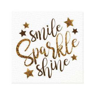 Smile Sparkle Shine - stars gold lettering canvas