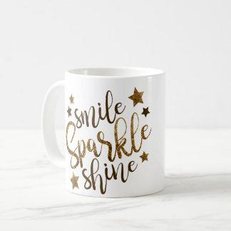 Smile Sparkle Shine - stars gold lettering mug