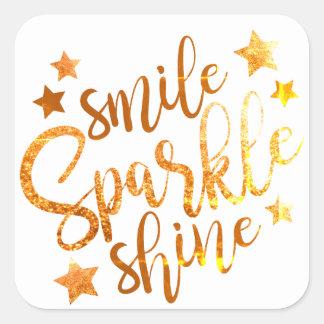 Smile Sparkle Shine White Gold Stickers Labels