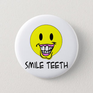 Smile Teeth 2 Inch Round Button