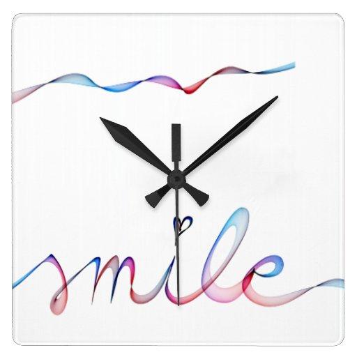 SMILE Watercolor Handwriting Clock