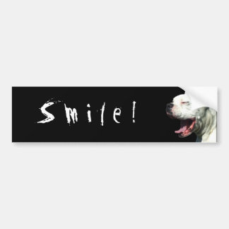 Smile! white boxer bumper sticker