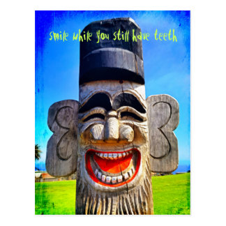"""""""Smile with teeth"""" quote funny laughing face photo Postcard"""