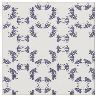 Smiles black & blue abstract shapes as pattern fabric