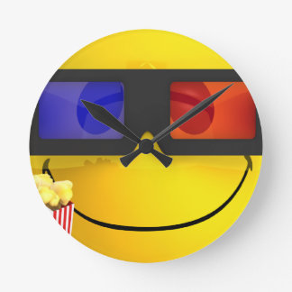 Smiley 3d glasses and popcorn round clock