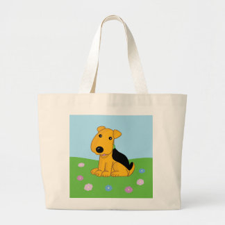 Smiley Airedale Puppy Dog in Flowers Jumbo Tote