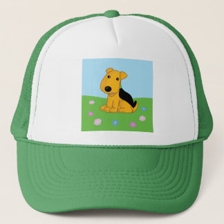 Smiley Airedale Terrier in Field Trucker Hat