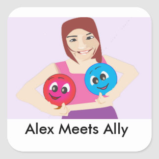 Smiley Alex And Ally With Cute Girl. Square Sticker