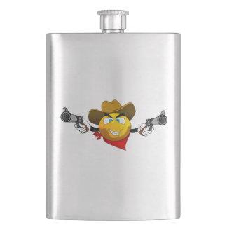 Smiley american dangerous bandit with guns hip flask