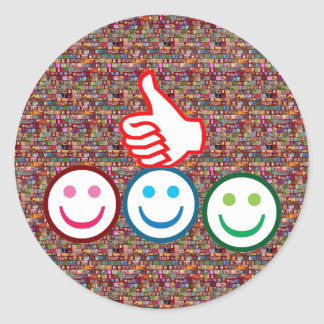 SMILEY and Thumbs UP : HAPPY FACES Classic Round Sticker