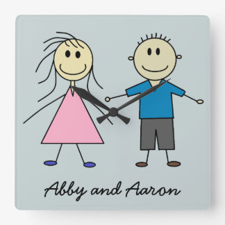 Smiley Boy and Girl Twins Stick Figures Square Wall Clock