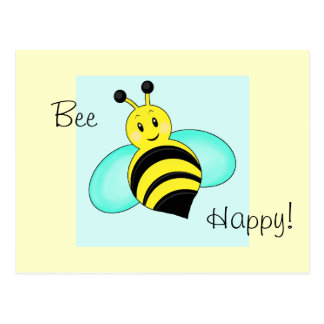 "Smiley Bumblebee ""Bee Happy"" Postcard"