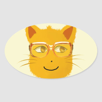 Smiley Cat with sunglass Oval Sticker