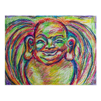 Smiley Colorful Buddha Postcard