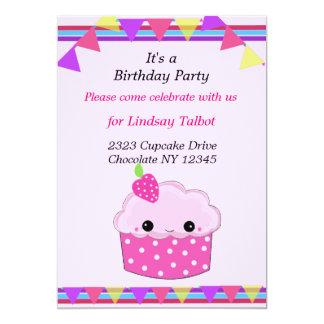 "Smiley Cupcake Birthday Party 5"" X 7"" Invitation Card"