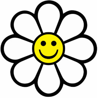 Smiley Daisy Photo Sculpture Keychain