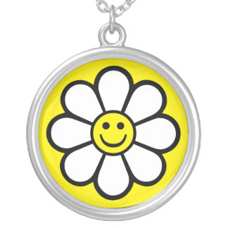 Smiley Daisy Silver Plated Necklace