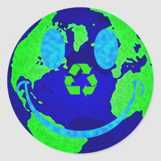 Smiley Earth Classic Round Sticker