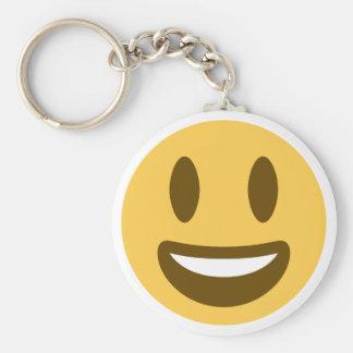 Smiley emoji basic round button keychain