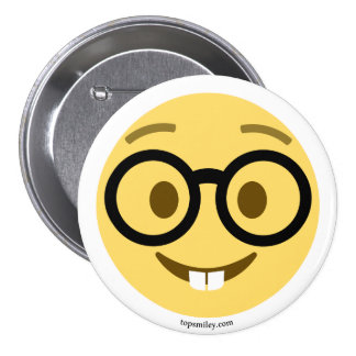 Smiley Emoji nerd with eyeglasses and hare teeth 3 Inch Round Button