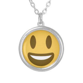 Smiley emoji silver plated necklace