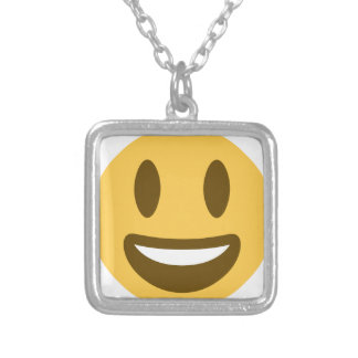 Smiley Emoji Twitter Silver Plated Necklace