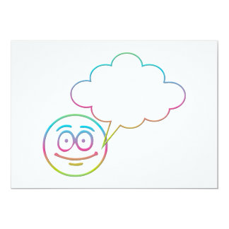 """Smiley Face #1 with Speech Bubble 5"""" X 7"""" Invitation Card"""