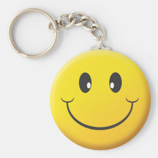 Smiley Face Basic Round Button Keychain