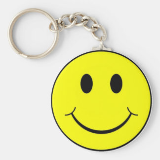 smiley face basic round button keychain