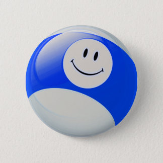 Smiley Face Billiards Ball 2 Inch Round Button
