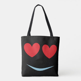 Smiley Face Black Tote with Red Heart Shaped Eyes