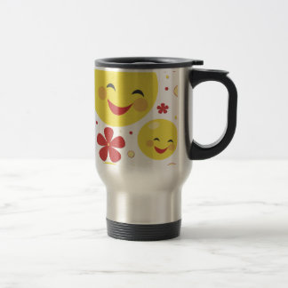 Smiley Face Flowers Travel Cup