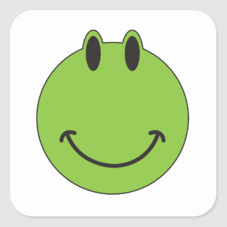 Smiley Face Frog Square Sticker
