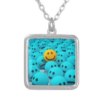 Smiley Face fun Image Silver Plated Necklace