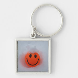 Smiley Face in Snow Keychain