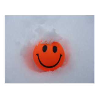 Smiley Face in Snow Postcard