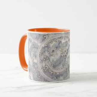 Smiley face in the sand beach drawing happy days mug
