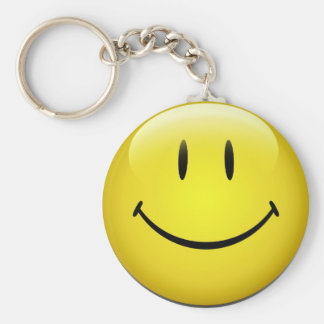 Smiley Face Key Ring Basic Round Button Keychain