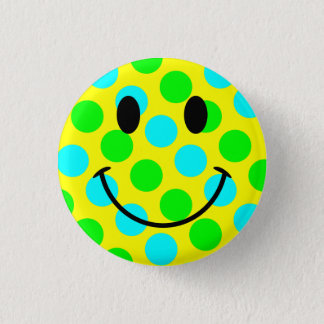Smiley Face Polka Dots 1 Inch Round Button